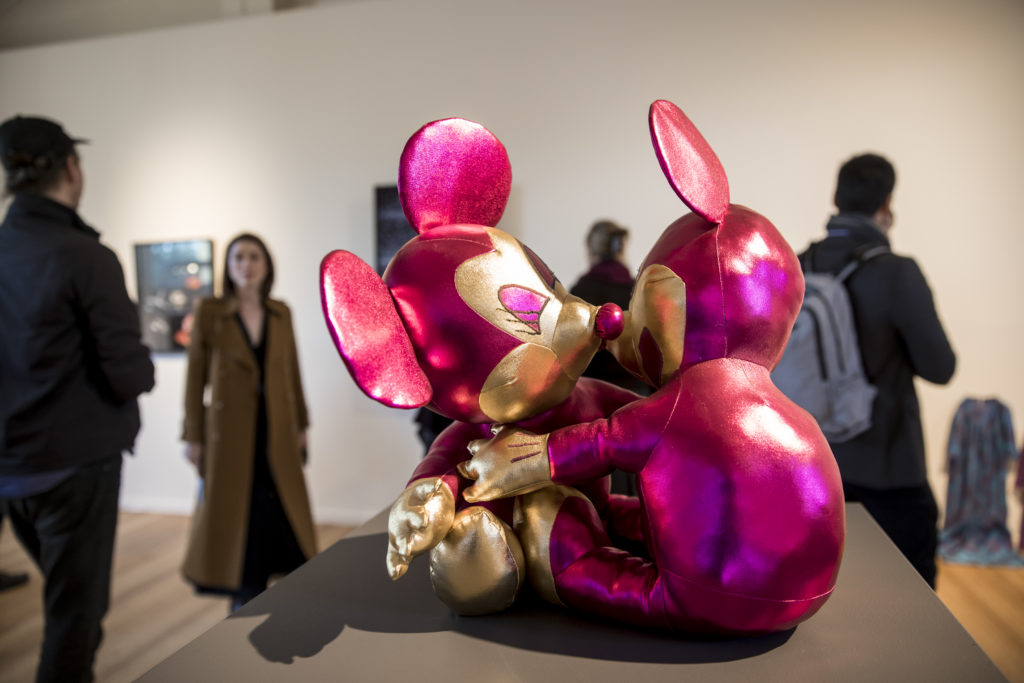 Incinerator Art Award 2019 installation view Aidan Calabria The Embrace 2017 soft toy sculpture fabric thread polyester stuffing.